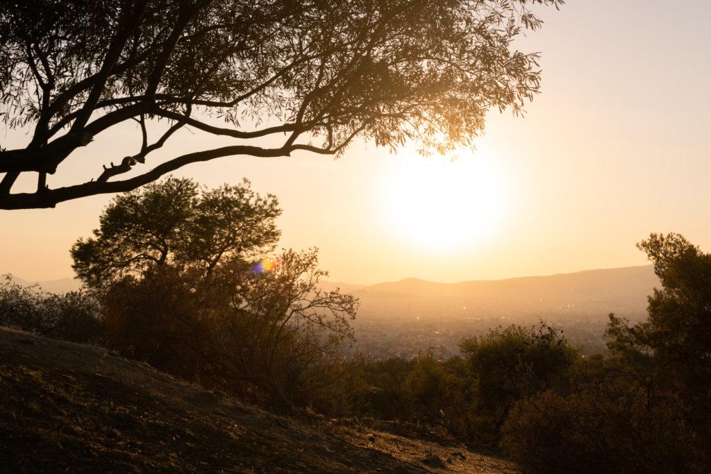 coucher de soleil sunset colline des muses acropole sun